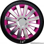Wieldoppen set ONYX-P hoogglans zilver-pink met chroom ring van 13 inch t/m 15 inch