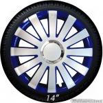 Wieldoppen set ONYX-BL hoogglans zilver-blauw met chroom ring van 13 inch t/m 15 inch