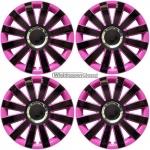 Wieldoppen set ONYX-BP hoogglans zwart-pink met chroom ring van 13 inch t/m 15 inch