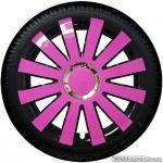 Wieldoppen set ONYX-PB hoogglans pink-zwart met chroom ring 13 inch en 14 inch
