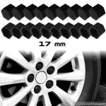 Siliconen wielmoerkapjes zwart 17 mm set a 20 stuks