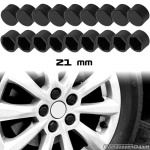 Siliconen wielmoerkapjes zwart 21 mm set a 20 stuks