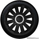 Wieldoppen set AGAT-GTS in mat-zwart met zilveren ring van 13 inch t/m 16 inch