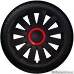 Wieldoppen set AGAT-GTR in mat-zwart met rode ring van 13 inch t/m 16 inch