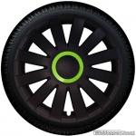 Wieldoppen set AGAT-GTM in mat-zwart met Monster groene ring van 13 inch t/m 16 inch