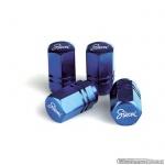 Ventieldopjes RACING 2-Line Blue. Set a 4 stuks in blauw