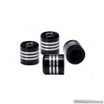 Ventieldopjes BLACK-3-Line aluminium zwart-zilver. Set a 4 stuks