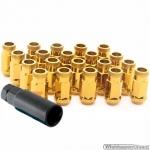 JR Wielmoeren LUG NUTS GOUD M12x1.25 hoogte 45 mm set a 20 stuks + sleutel