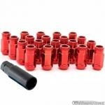 Wielmoeren set OPEN ROOD M12x1.25 hoogte 45 mm Set a 20 stuks + sleutel