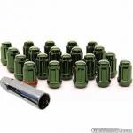 Wielmoeren set GROEN M12x1.25 hoogte 35 mm Set a 20 stuks + sleutel