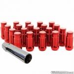 Wielmoeren set ROOD M12x1.25 hoogte 45 mm Set a 20 stuks + sleutel