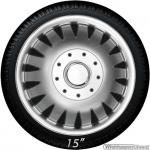 Extreem bolle wieldoppen set COMBO S zilver in 15 en 16 inch