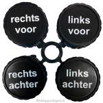 Banden- cq wielen markering clips. Set a 4 stuks met opschrift