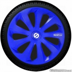 Wieldoppen set SPARCO SICILIA BLU in blauw carbon-look 13 inch t/m 16 inch